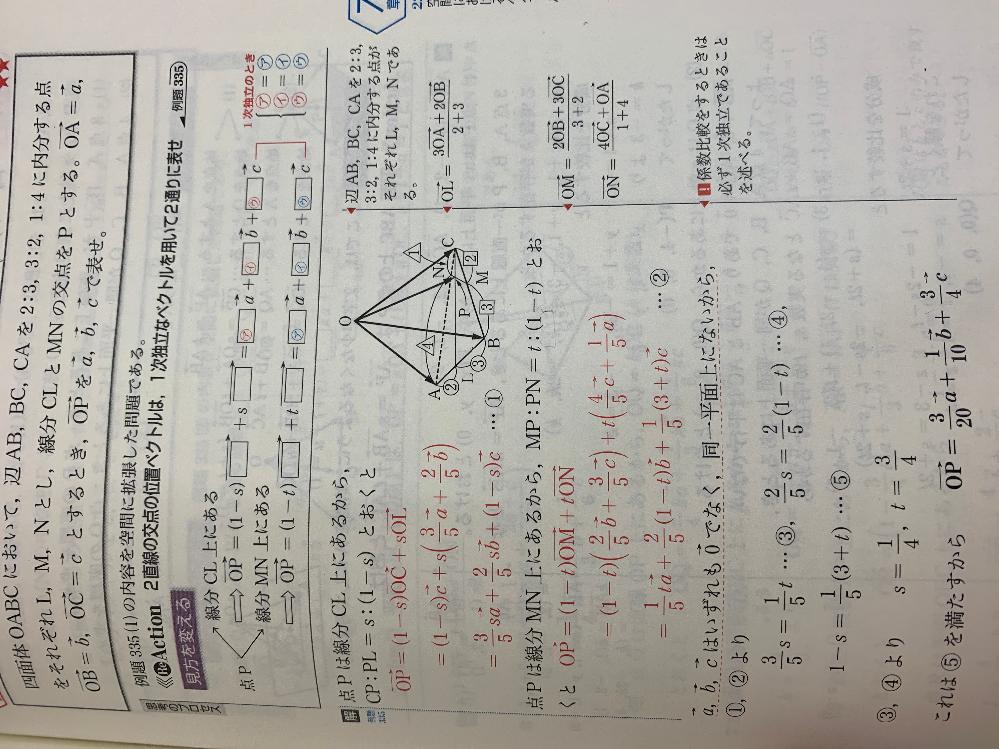 この問題でOP=(1-s)OC+sOL OP=(1-t)ON+tOM という条件でやったところ計算が合いません。 なにか解き方が違うのでしょうか。