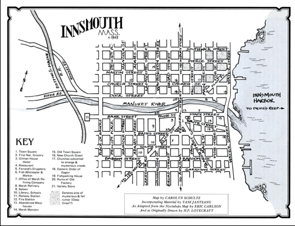クトゥルフ神話のラヴクラフト原作「インスマスの影」を趣味で調べています。 ネットで検索したところこのようなインスマスの地図が見つかりました。 https://karapaia.com/archi...