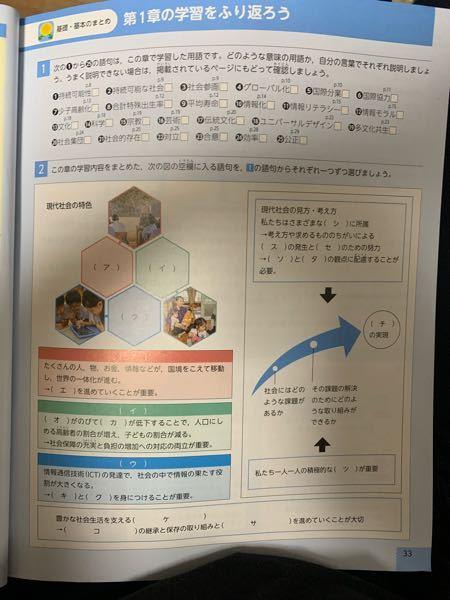 至急!公民です!コイン250! 中学3年生の公民の教科書(東京書籍)のp33 ア〜ツ の答えを教えてください!