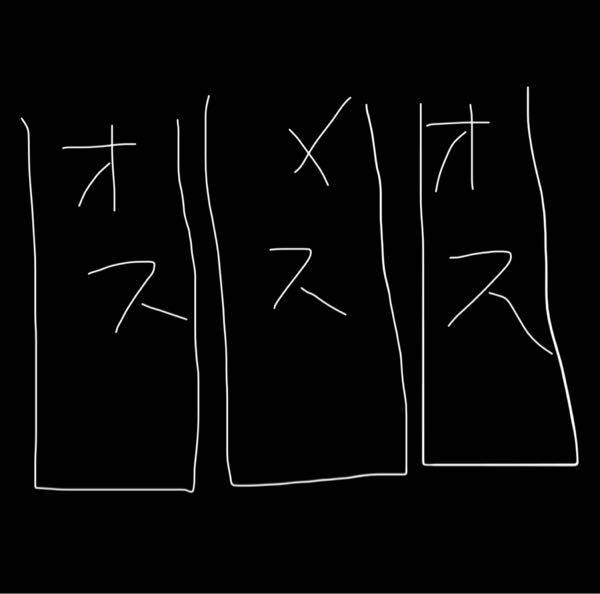ベタのお見合いについて(図あり)(ふざけてるように思われると思いますが、真剣です) 今思いついた素朴な質問です。 お見合い時にこの下図のような配置にした場合、どうなるんでしょうか。 メスを真ん中の水槽に、左右をオス二匹により挟まれる状況です。 水槽は全て直方体で、円型特有のぐにゃぐにゃ感はないとします。(場所によってはオス同士の姿も互いに見えてしまう)