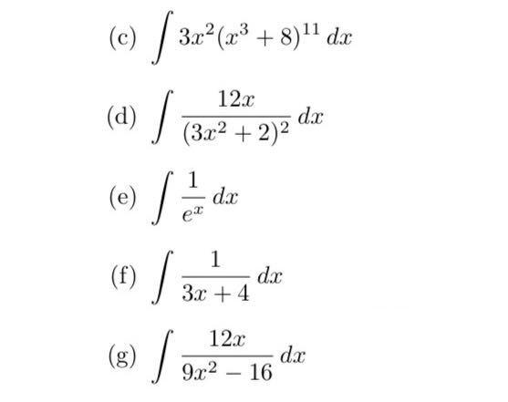 以下の5問(積分)が分からないので教えて下さい。