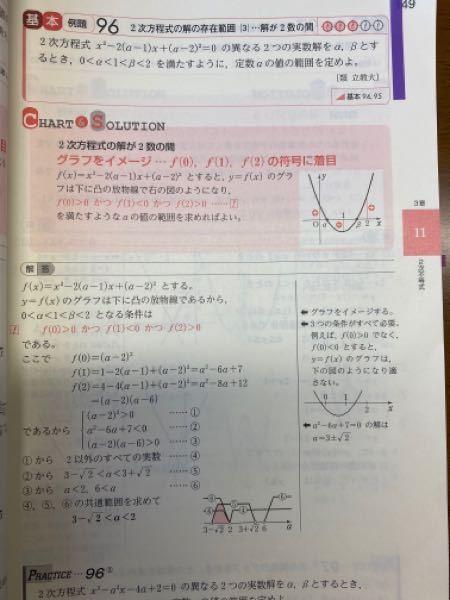 数I 2次方程式の解の存在範囲の問題について(2次不等式) この問題の条件は『f(0)>0かつf(1)<0かつf(2)>0』となっていますが、 D>0,f(0)>0,0<軸<2という条件で解くことはできないのでしょうか? まとまりのない質問ですが、ご回答いただけるとありがたいです。