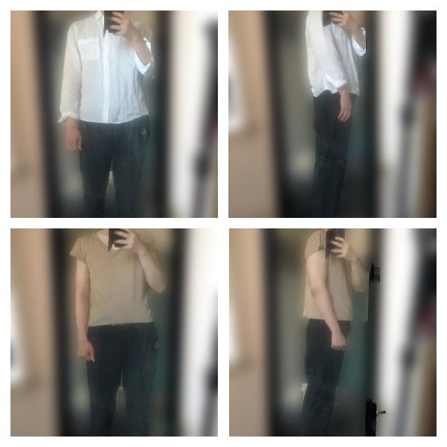 実際に身長・体重・BMIの数値のわりに極端に痩せて見える原因を知りたいです。 181cm72kgと数値だけ見たら平均的な体型なのですが、見た目が極端にガリガリに見えます。 初めて会った方には「細すぎるな。ちゃんと食べてるの?」って心配されるのは日常茶飯事。 だいたい、その様なことを言われる際には僕と同じくらいの身長でBMI的には恐らく自分より細いのかなと思われる方も一緒にいるのですが、その方達は特に触れられず僕だけガリガリ体型を指摘されます。 友人に178cm56kgの男がいるのですが、彼と一緒にいてもガリガリに見えるのは圧倒的に僕の方みたいです。 今の職場の上司には体型の話になった際に「〇〇君は40キロ位?」っ極端に低い体重を予測されました。 このような事は過去にも何度か言われたことがあるので、本当にそのくらいガリガリに痩せて見えるのだと思います。 外を歩いていれば、すれ違った人に「細っ」と言われていたと連れの友人から教えてもらったこともあります笑 どこに言ってもガリガリで弱々しいイメージを持たれ、力仕事等をする際も女性に心配されるレベルです… このように、数値以上にガリガリに痩せてみえる原因を知りたいと思い投稿致しました。 一応、普段の服装と半袖姿の画像を載せましたので、それを見ていただき原因を指摘して下さると光栄です。 できれば、対処法等も教えていただけると嬉しいです。よろしくお願いします。