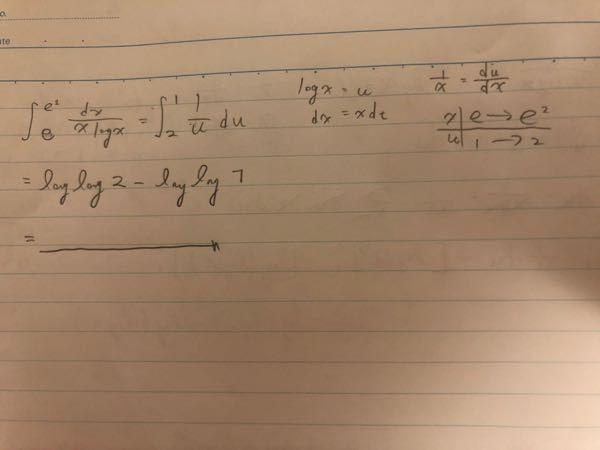 数学の問題(積分)でわからなかったので質問させて頂きます。画像の式のこたえはlog2なのですが途中式のloglog2-loglog1の計算はどの様に解けば良いのでしょうか。 是非、ご回答よろしくお願いします。