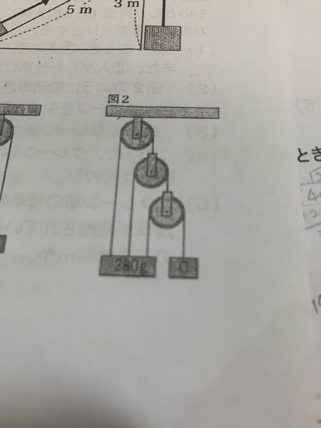 中学の理科の定期テストで定滑車?の問題が出てきたのですが、解き方がわかりません。どうやって解くのかわかりやすく教えてください。よろしくお願いします