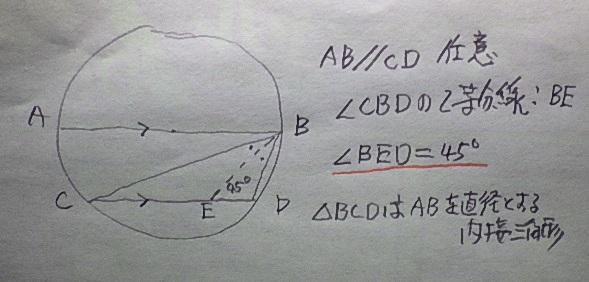 証明いてください : : 円の直径に平行な任意の弦を辺とし、その両端と直径の端を頂点として結んだ内接三角形がある。このとき頂角の二等分線と弦は45°で交わる。