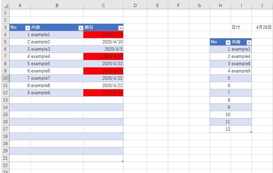 Excelについてです。 画像のように期日が本日のみの内容を違うシートに反映させたいのですが、IFERRORとVLOOKUPの組み合わせなどでできますでしょうか? よろしくお願いいたします。