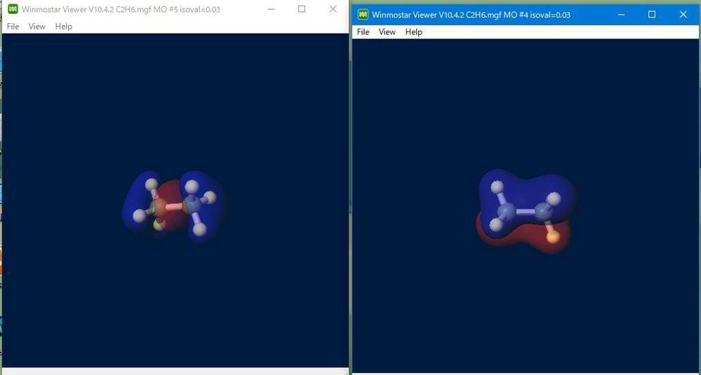 「結合に関与する分子軌道」という文言が課題に出てきたのですがどう解釈したら良いでしょうか エタンの炭素間結合に関与する分子軌道を答えよとの問題が出題されてwinmostarで計算しました 左の画像は単結合をメインで担っているσ結合です。これは70%ぐらいCの2px軌道が混じってます。右の画像は32%ぐらい2py軌道が混ざっていました。少ないといえどもどちらも電子が入れば結合に関与するといえるのではと困っています。この場合一番割合が多いようなのを答えたら良いでしょうか?