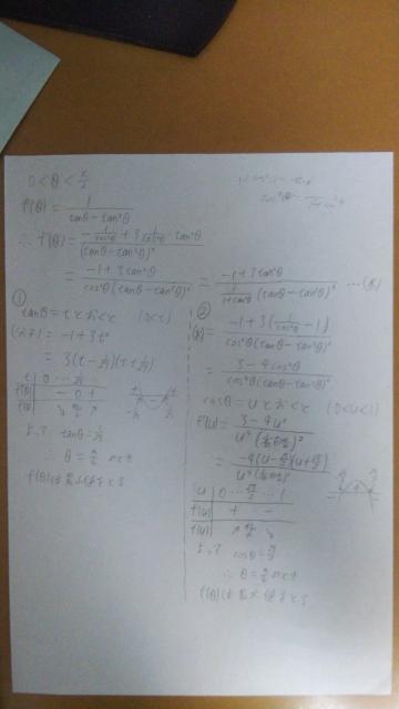 高校数学の質問です。 写真のy=f(θ)の最小値を求めようとしたところ、初め、写真の右側の②のように余計に式変形してしまい、答えを求めようとしましたが、なぜか本当の答えの①と異なる結果が出てしまいました。②の解き方のどこが間違えているのでしょうか? 解き方が汚くて申し訳ありません。最初からtanθをtと置いておけば良かったのですが、今回は②の(同値変形したと思っていた)解き方の間違えている部分を指摘してほしかったのであえてそのまま投稿しました。 写真で不明な部分があれば聞いてください。