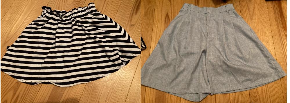 この2つに合うトップスを教えてください! ①しましま模様のミニスカート(キュロット?) ・短め(太ももの半分は丸見え) ・色は白と黒 ・少し厚めの生地 ・ベルトは一応通せるけど、私の持ってるベルトでは通せない ②水色のキュロットスカート ・少し短め(膝が少し見えるくらい) ・色は少〜しくすんだ水色 ・薄めの生地 ・ベルトが通せる 私は中学生ですが、着るとどちらも小学生みたいなコーデになります(泣)なのでほとんど着てません。かといって捨てるのももったいなくて… これらに似合う服はどんなものですか?ざっくりでも、これ!と具体的でも構いません。いやいや中学生はその服に何組み合わせても似合いませんよ〜ってことでしたら、そう言ってください!ご回答お待ちしております!