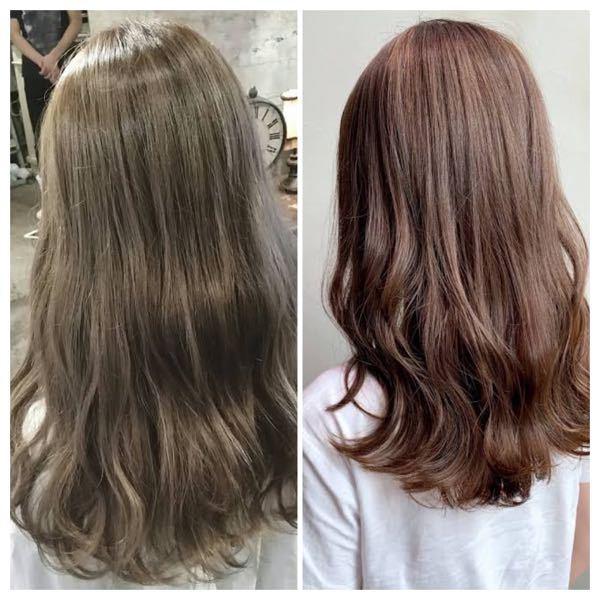 左の写真のようなオリーブっぽい色にするにはダブルカラーで出来ますか?? ちなみに今の髪色は右の写真くらいの色と明るさです。