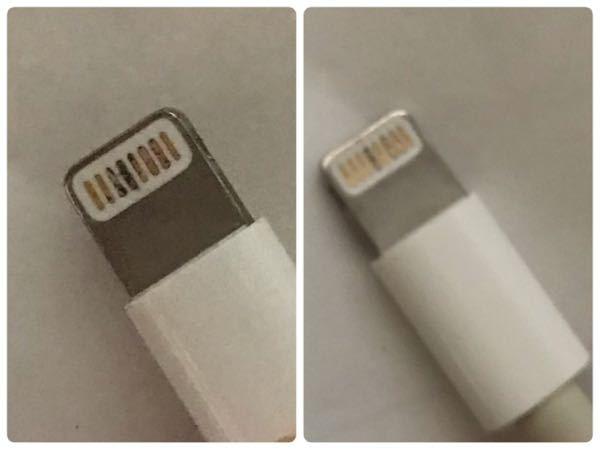 iPhoneの充電器が壊れたかもしれないです。 写真の左側の面を上にして挿入したら、充電はできますが急に「このアクセサリは使用できない可能性があります」と表示が出て、充電が停止されます。再度挿入し直したら直ることが多いですが、繰り返しです。 右の画像を上にして挿入したら、全く反応がありません。 充電器が悪いだけでiPhoneは大丈夫でしょうか?バッテリーは劣化してると思うのですが、充電さえできればいいのですが…。 家族でこの充電器を使ってる人が私以外いないため、調べようがありません。