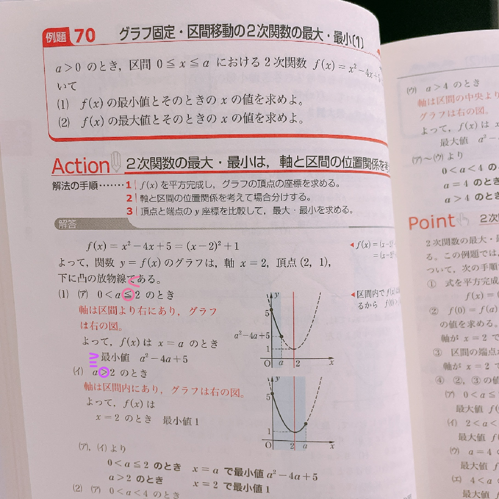 高一二次関数の問題です! このピンクと紫の部分をそれぞれ書いてる符号に変えることはできますか??