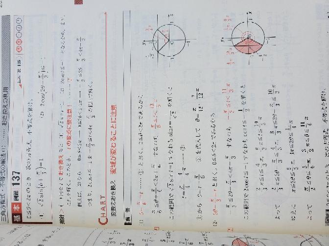 三角関数の質問です (2)ですが、解答にあるようにtと置かず、 cos(2θ-π/3)≦−1/2 からの 2/3 π≦2θ-π/3≦4/3 π とすると π/2≦θ≦5/6 π しか出てきません、どこで間違えるのでしょうか? 教えてください (_ _) tと置けば範囲が2π以上に広がり、 正解が出るのは分かります。 tと置かない場合で、お願いします。
