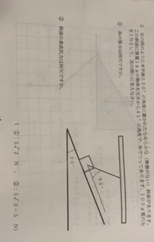 図のように水平面と30度の角度に置かれたなめらかな斜面がある。この斜面に質量1キログラムの物体を天井から45度の角度で、糸でつってある。100グラム重の力を1ニュートンとして次の問いに答えなさい。 ①糸の張力は何ニュートンか。答、5ルート2N ②斜面の垂直抗力は何ニュートンか。答、5ルート3−5N になる理由がわかりません。説明と途中先を教えていただきたいです。