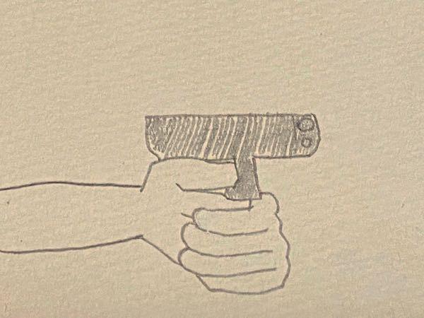 銃の構え方ですが、この持ち方が基本なのですか❔長いライフルみたいな銃だと構え方はイメージ出来てふむふむという感じなのですがこういう小型やこのサイズだと手とかこんな感じでしょうか……?あまりに画力なくてす みません(TT)