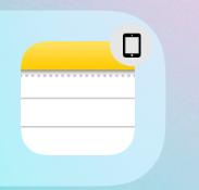 iPadで純正メモアプリを使っているのですが、画像のようにアイコンの右上にタブレットのようなマークが付いていました。このマークは何を意味するのでしょうか? iPad miniからiPadにiCloudを用いてデータを移行している最中に起こりました。
