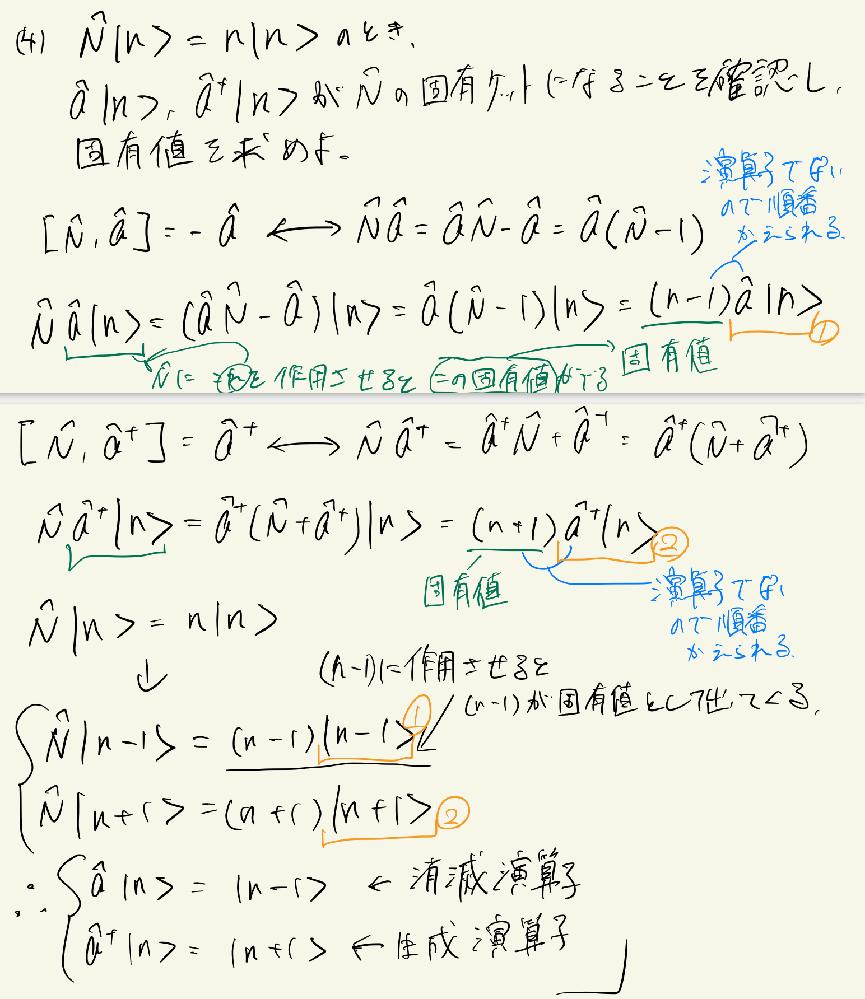 量子力学について質問です。 どうして①、②どうしは等号で結べるのでしょうか。 左辺が違うので結べないのではないですか?