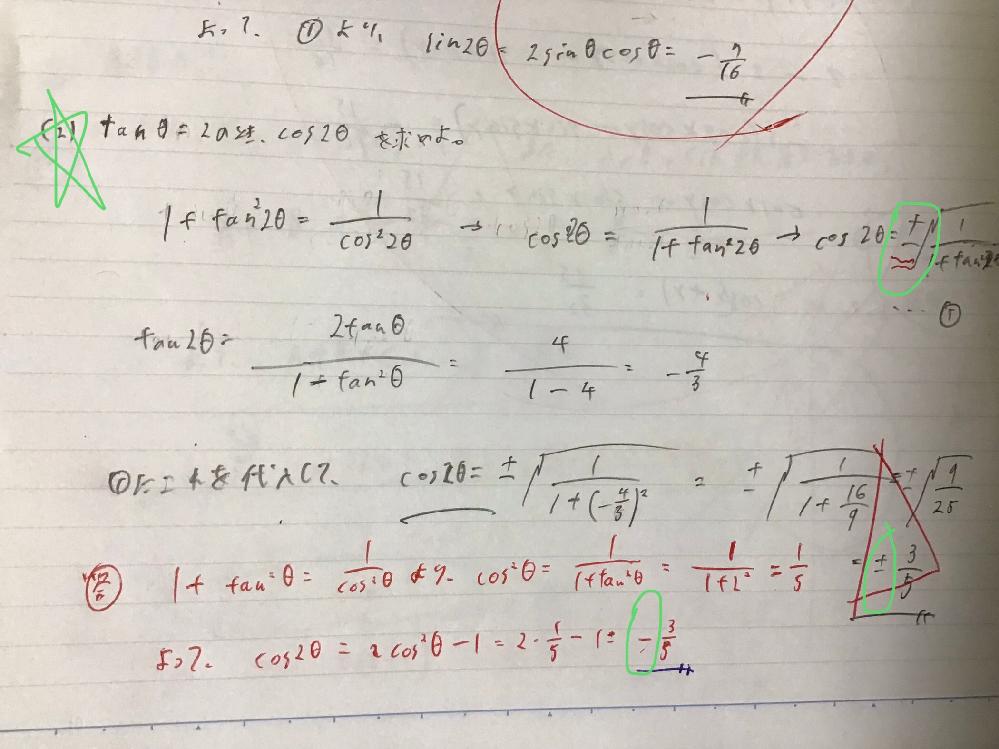 写真の緑で示した部分の問題で、自分の計算ではcos2θ=+3/5も答えに出てきたのですが、象限の指定などがないので、これも答えとして正しいと思ったのですが、正しいですか?理由とともに教えてください。