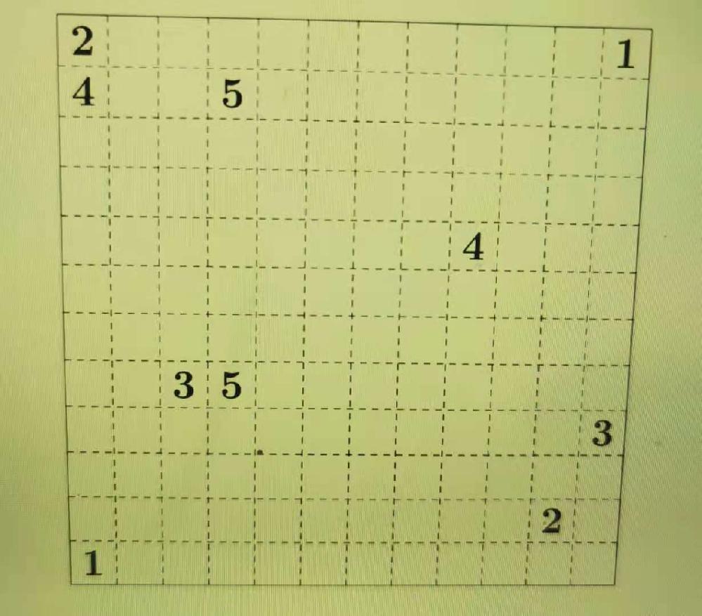 ルール: 盤面にある同じ数字同士を線でつなぐ。線は縦横に引き, 斜めには引かない(斜めに接したマス同士を直接線で結ばない)。数字の入っているマスを通過するように線を引かない。 線は交差や枝分かれをしない。また, 1 つのマスに 2 本以上の線が入ることもない。 よろしくお願いいたします。