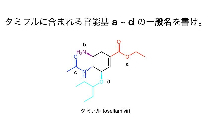 化学の官能基の問題です aとcの答えがわかりません。 化学が本当によくわからないのですがO=H-O(a)やNH=O(c)なんて官能基ありませんよね?どういう見方をすればいいのでしょうか