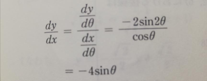 数学Ⅲの質問です。どうして答えが−4sinθの形になるんでしょうか。教えて下さい。