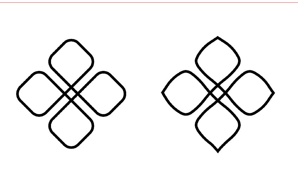 Illustratorでの操作・作業に関して助けて頂きたいです。 ロゴを考案していく中で、 「やっぱりこれがいいな。」と思うものがあったのですが、 自分で作業をしてたのに、どうやってそうなったのか作業工程がわからないものがあります。 ネットで検索しながらそれっぽいことを試してみても、全然ダメでした。。 何かを操作した時に一気にまとめてパッと変わった記憶なのですが…。 画像の左が大元で、これをいじって右のようになりました。 左の図形から、右のように4つの丸角四角の直線部分を一括(まとめて同じ比率?)で曲線にして調整をしたいです。 アンカーポイント・ハンドルを複数同時に動かすのか? 膨張でどうにかするのか? 変換やアンカーの部分?? と迷走しまくってます…。 作業の履歴や使われてる効果等が見れたら良いのですが、イラレにはそんな機能はないようで。。 どなたか分かる方いらっしゃいましたらどうか教えて頂きたいです!;; 宜しくお願い致します。