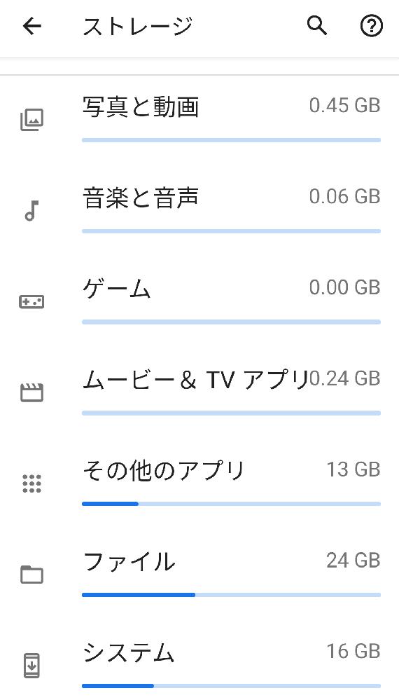 現在使用しているスマホのROM容量について 同じスマホを2台(それぞれROM64GB)使用しております。ほぼ、同じような使用をしておりますが、そのうち1台の容量がかなり使用となっております。 ス...
