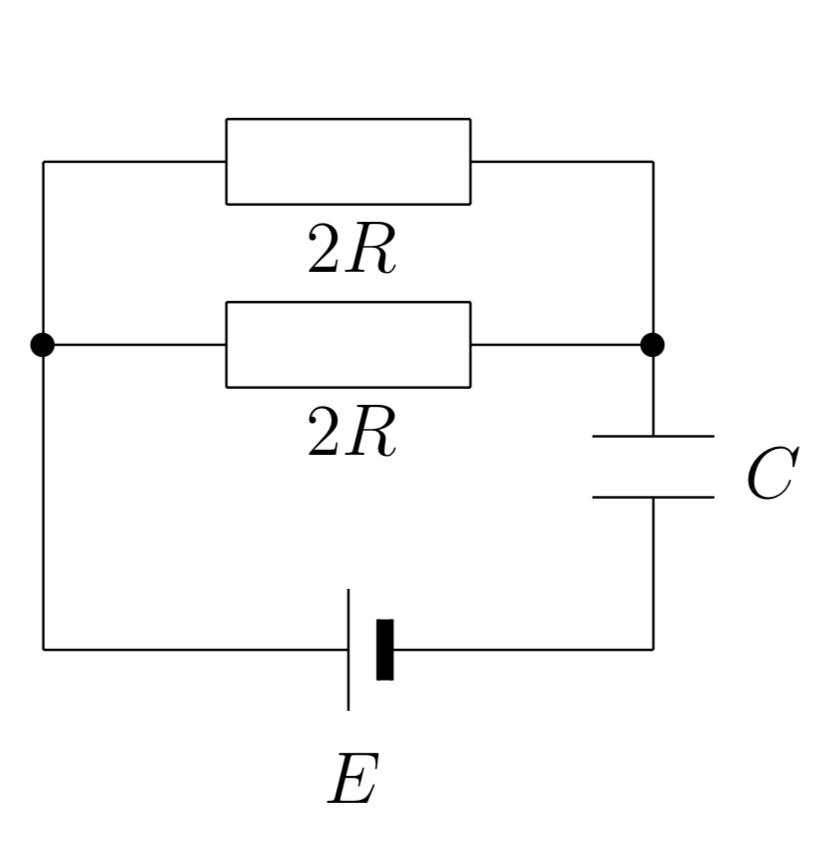 物理の電気回路について質問です。 画像の回路で十分時間が経過した後の電池が供給したエネルギーとコンデンサーに蓄えられたエネルギーを教えてください。 t=0で電荷は蓄えられていません。 よろしくお願い致します。