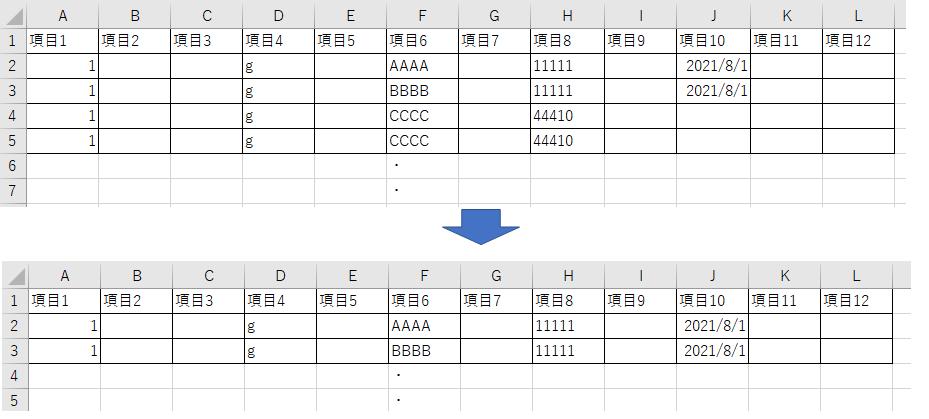 Excel VBAの行削除の構文を教えてください。 添付画像をご参照ください。J列がブランクとなっている行を、行削除するマクロを作りたいですが、どのようなVBAを組めばよいかを教えてください。 よろしくお願いいたします。