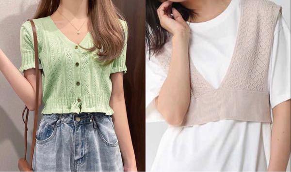 高校3年生です。 今度デートに行くのですが、左の写真のような胸元が開いた服はあまり良くないですか? この前買ったばかりなので着て行けたらいいなと思うのですが、どうなのでしょうか。 左が微妙だった場合、右の写真にジーンズを合わせようと思うのですがどうでしょうか。