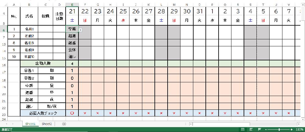 Excelでシフト表を作る時に日付と曜日、必要人数チェックの設定は自動で変更することが出来たのですが、 添付図で1日ごとの出勤種類を選択して出勤人数(合計)と添付図の様に出勤人数と必要人数チェックを自動で連動させるにはどうしたら宜しいでしょうか・・・? 要件 添付図の名前ごとに出勤種類で、 早番1、遅、超遅、通しを選択→出勤人数の合計が4人→必要チェック人数(早番1人)、(早番2/0人)(遅番1人)、(超遅1人)(通し1人)、(公休0人)→〇 みたいな感じで同時に計算して数字も連動して変わる設定です。 添付図の様にするにはどうしたら良いのか困っています。 Excel初心者で全く解らないので、出来るだけ詳しく解りやすく数式等教えて頂けませんでしょうか? お忙しい中すみませんが、宜しくお願い致します。 ※Excel2013です。