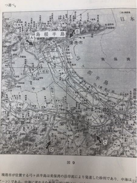 地理Bの正誤問題です。 写真の左の真ん中より少し上にある大根島が陸繋島かの判断なのですが、どうやって見分けたら良いでしょうか?