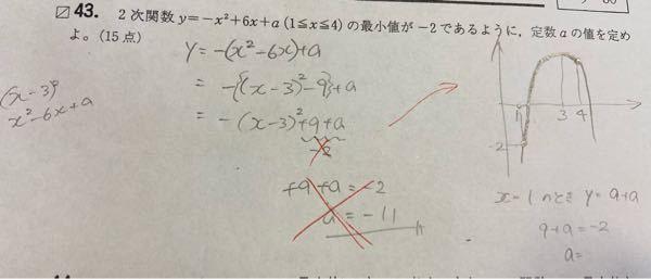 下の問題が分かりません 解説では、赤いバツのところは、-1+6+a=-2になってます