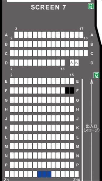 映画館についてです。 217+(2) 5.3×9.7m デジタル5.1chの広さでこの座席なのですが、皆さんならどこに座りますか? 大画面を堪能したいけどあまり見上げる形にはなりたくないな、という感じで悩んでます