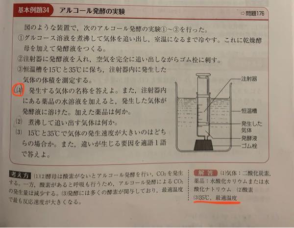 生物 アルコール発酵 (4)35度で最適温度というのは覚えるべきですか?それとも、温度が高い方が気体は発生しやすいというなんとなくの考えでいいですか? また、乳酸発酵とアルコール発酵の最適温度が違うのでしょうか