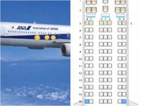 飛行機の座席について教えてください。 添付画像は、ANA国内線(ボーイング767-300)です。 ANAのHPから座席選択画面に行くと窓なし席はわかるようになっていますが、窓がある席を選んだのに外が見えにくい座席はあるのでしょうか?  飛行機を外から見た写真では、窓の間隔が広い場所がいくつかあります。(ニコちゃんマーク3つを置いた場所あたり)  座席表ではニコちゃんマーク辺りの座席...