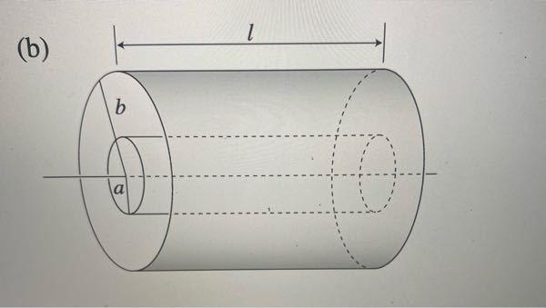 大学電磁気学です。 写真のような、半径a、長さlの円柱導体と長さが同じで内半径bの円筒状導体と中心軸が一致するように配置したコンデンサーの静電容量が平行平板コンデンサーの静電容量と一致することを示せ(ただし、b=a+dとし、d<<aのとき)という問題なのですが、計算したところ円筒形の静電容量CがC=2πε0l/{log(b/a)}となり、ここでb=a+dとしd<<aを考えると分母が0になってしまい??という感じです。 どなたか教えていただけますでしょうか。
