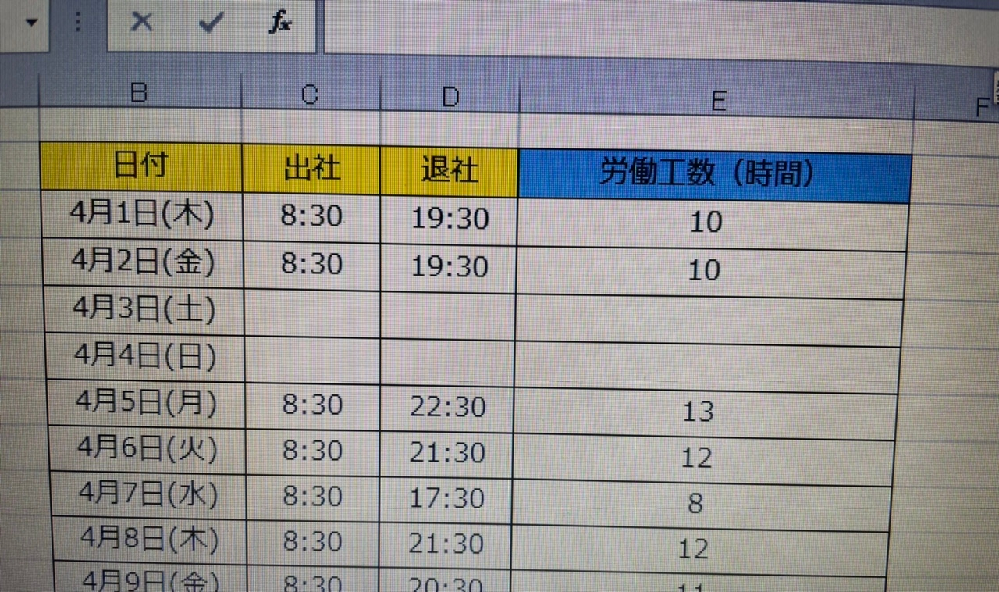 画像のような表から 残業工数が45時間を超えた場合 警告メッセージを表示し、日付部分のセルを赤い色で塗りつぶすVBAのプログラムを書きたいです。 補足として労働工数8時間を超える場合を残業工数と...