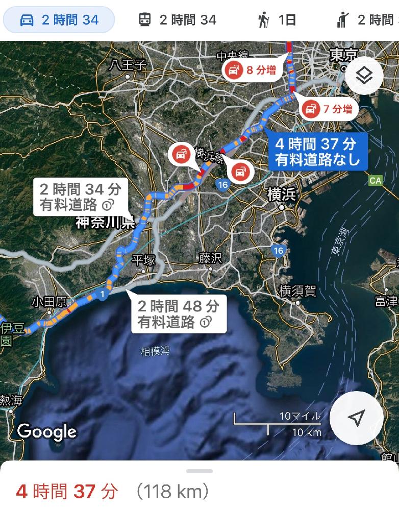 東京都荒川区から箱根温泉まで一般道だと4時間かかると表示されていますが距離は118kmです。 私はよくわからないのですが主人はこの距離でそんなに時間がかかるわけないと言ってます。 オリンピック開催期間中なので高速は使わないつもりです。