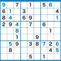 数独の問題で、行き詰まってしまったので質問させてください。 黒字が元から入っていた数字で、青字が私が入れた数字です。 次に着目するのはどこでしょうか? 2箇所のうちどちらかに入る数字は拾い出したと思うのですが…。 何度も見直すうちに訳が分からなくなってきました。 ヒントをください。よろしくお願いします。