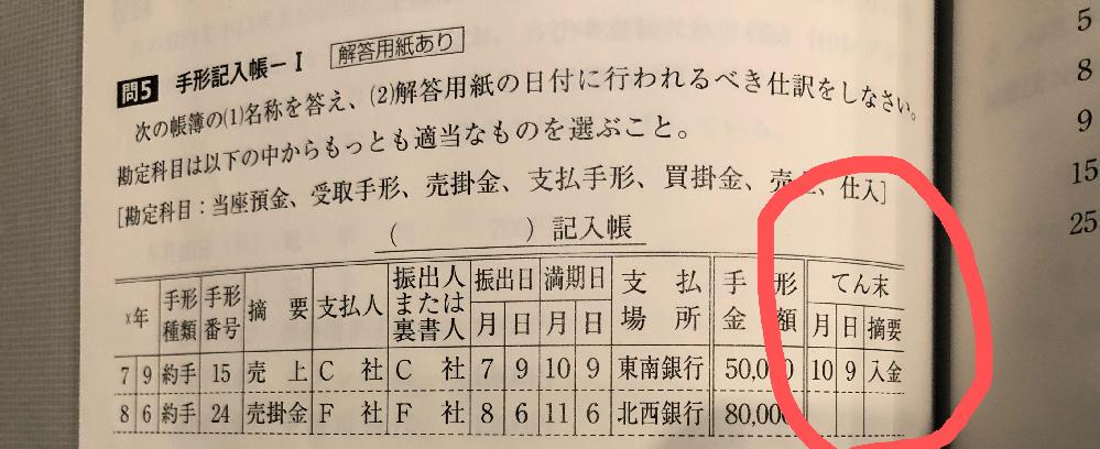 簿記3級の質問です。受取手形記入帳に関してです。 画像の右下、なぜ、売掛金の欄には入金の予定が書いていないのでしょうか?