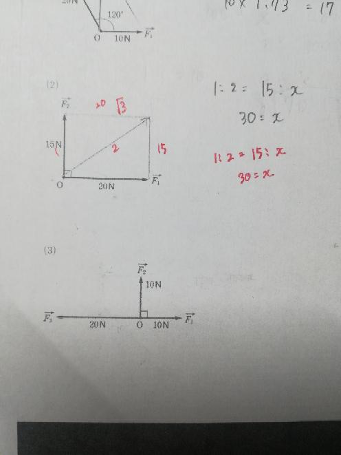 赤い線は気にしないでください! 問題文 【力の合成】次の各場合について、合力→Fを作成し、その大きさを求めなさい。 (2)私は3平方の定理で1:2=15:xで30になったのですが…なぜ違うんでしょうか?答えは25でした。 (3)何をどうやればいいか何も分かりません( ̄▽ ̄;) 超がつくほどのバカなのでできるだけわかりやすく教えていただけるとありがたいです。。。 よろしくお願いします。