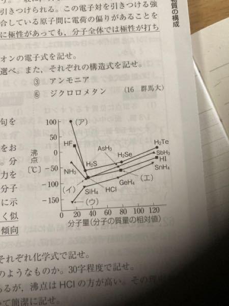 14族から17族の水素化合物の分子量と沸点の関係を示したもので、アからエの化合物は何かという問題です。どう考えれば良いのかわかりません 教えてください