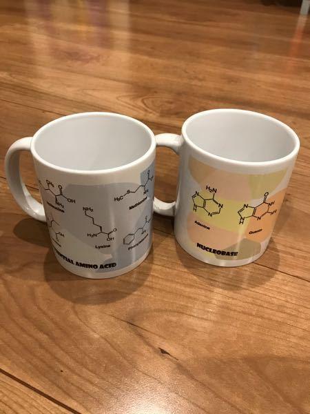 必須アミノ酸や核酸の塩基の構造式がプリントされたお気に入りのマグカップなのですが、製造元をご存知の方いらっしゃらないでしょうか?
