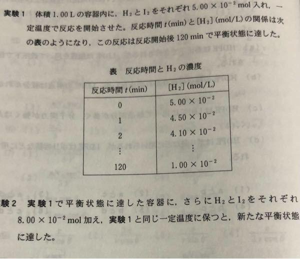 化学 ヨウ化水素の発生で、写真の「実験2」の数値を反応前、変化量、反応後で教えてくだい。