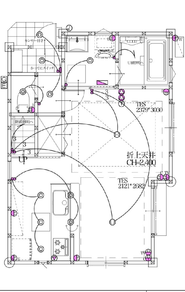 現在、家を建てている最中です。 こちらの1階のLDK16.8畳の家具レイアウトのアイデアをいただけないでしょうか⁇ 導線を考慮しながら、ソファとダイニングテーブルを配置したいと考えております。 ちなみに、子ども3人の5人家族です。(予算都合で、かなり狭いです笑)