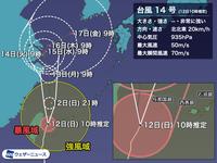台風14号の進路はどうなりますか?