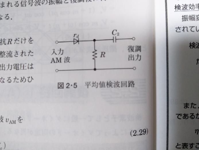 AM復調 直線検波 平均値検波回路 写真の平均値検波回路において、Rの両端にはダイオードによって整流された半波の平均電圧が生じる、と書いてありますが、具体的にどんな数式になりますか? たとえば入力AM波を Vam(t)=(Vc+mVc cosωst)cosωct とすると、Rの両端電圧は、 Vr=整流{Vam(t)} となるだけで、どこにも平均操作が出てこない気がします。 どの素子がどんな原理で平均化しているのでしょうか? また、ここでの平均化はDC電圧になるという意味ではないと思います(DCになったら信号波が潰れてしまうので)が、どういう意味での平均化なのでしょうか?