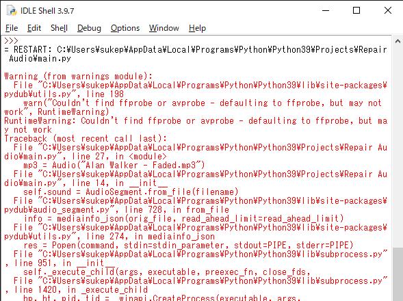 "Pythonについて質問です。 IDLE Shell 3.9.7で以下のコードを実行したところ、エラーが発生してしまいました。 どうすればこのエラーを解消できるのでしょうか。 #ソースコード from keras.models import Sequential from keras.layers import Dense, Activation from pydub import AudioSegment import numpy as np import matplotlib.pyplot as plt import random BUFFER_SIZE = 256 class Audio: def __init__(self, filename): self.sound = AudioSegment.from_file(filename) self.samples = np.array(self.sound.get_array_of_samples()) if self.sound.channels == 1: self.left = self.samples self.right = self.samples else: self.left = self.samples[::2] self.right = self.samples[1::2] if __name__ == ""__main__"": wav = Audio(""Alan Walker - Faded.wav"") mp3 = Audio(""Alan Walker - Faded.mp3"") offset = random.randrange(wav.left.size-BUFFER_SIZE) if random.randrange() == 0: x_train = mp3.left[offset:BUFFER_SIZE] y_train = wav.left[offset:BUFFER_SIZE] else: x_train = mp3.right[offset:BUFFER_SIZE] y_train = wav.right[offset:BUFFER_SIZE] model = Sequrntial() model.add(Dense(BUFFER_SIZE, input_dim=BUFFER_SIZE)) model.add(Activation(""linear"")) model.add(Dense(BUFFER_SIZE)) model.add(Activation(""linear"")) model.compile(optimizer=""adam"", loss=""mse"", metrics=[""accuracy""]) model.fit(x=x_train, y=y_train, epochs=20)"